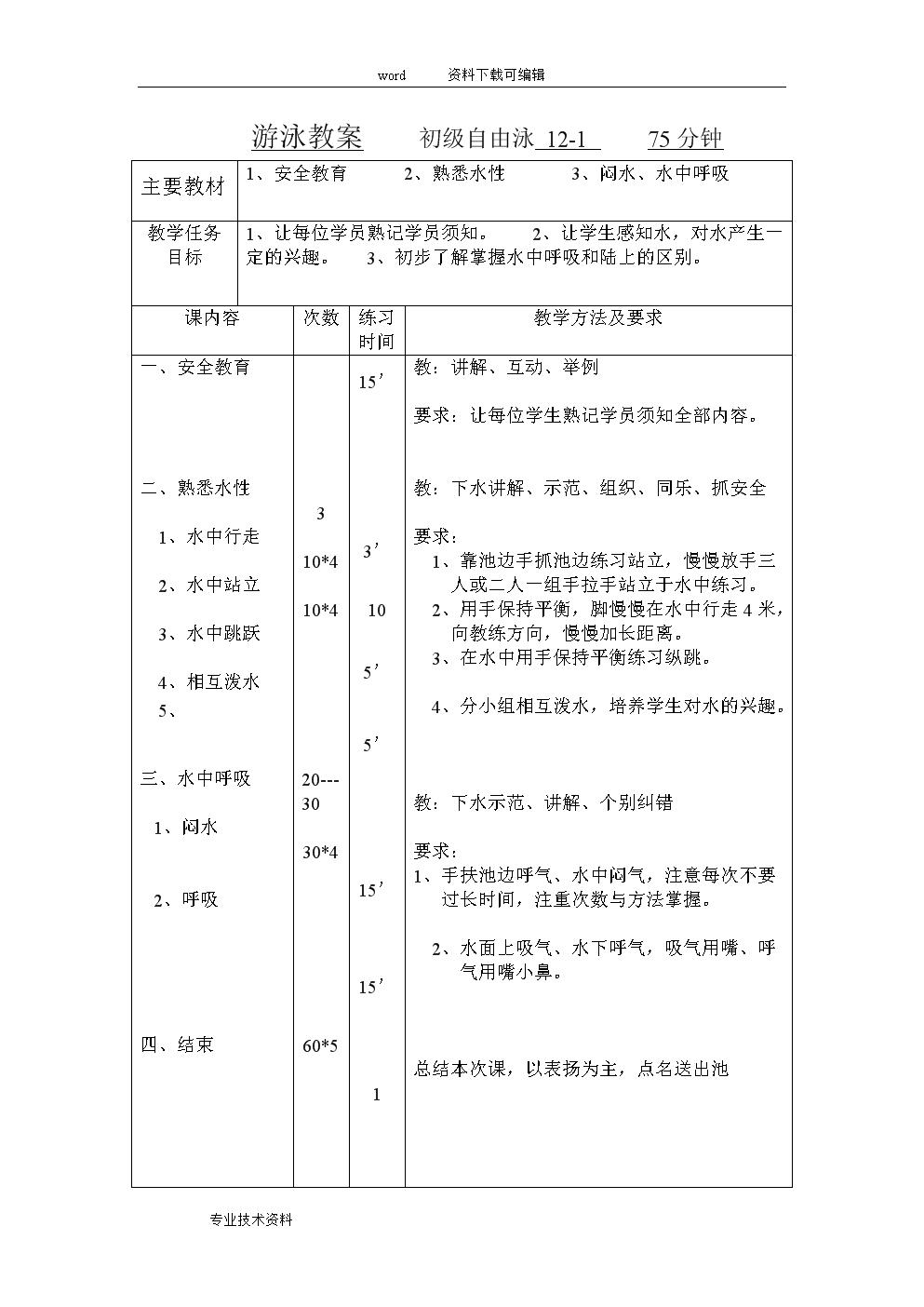 游泳教(学)案(初级班).doc