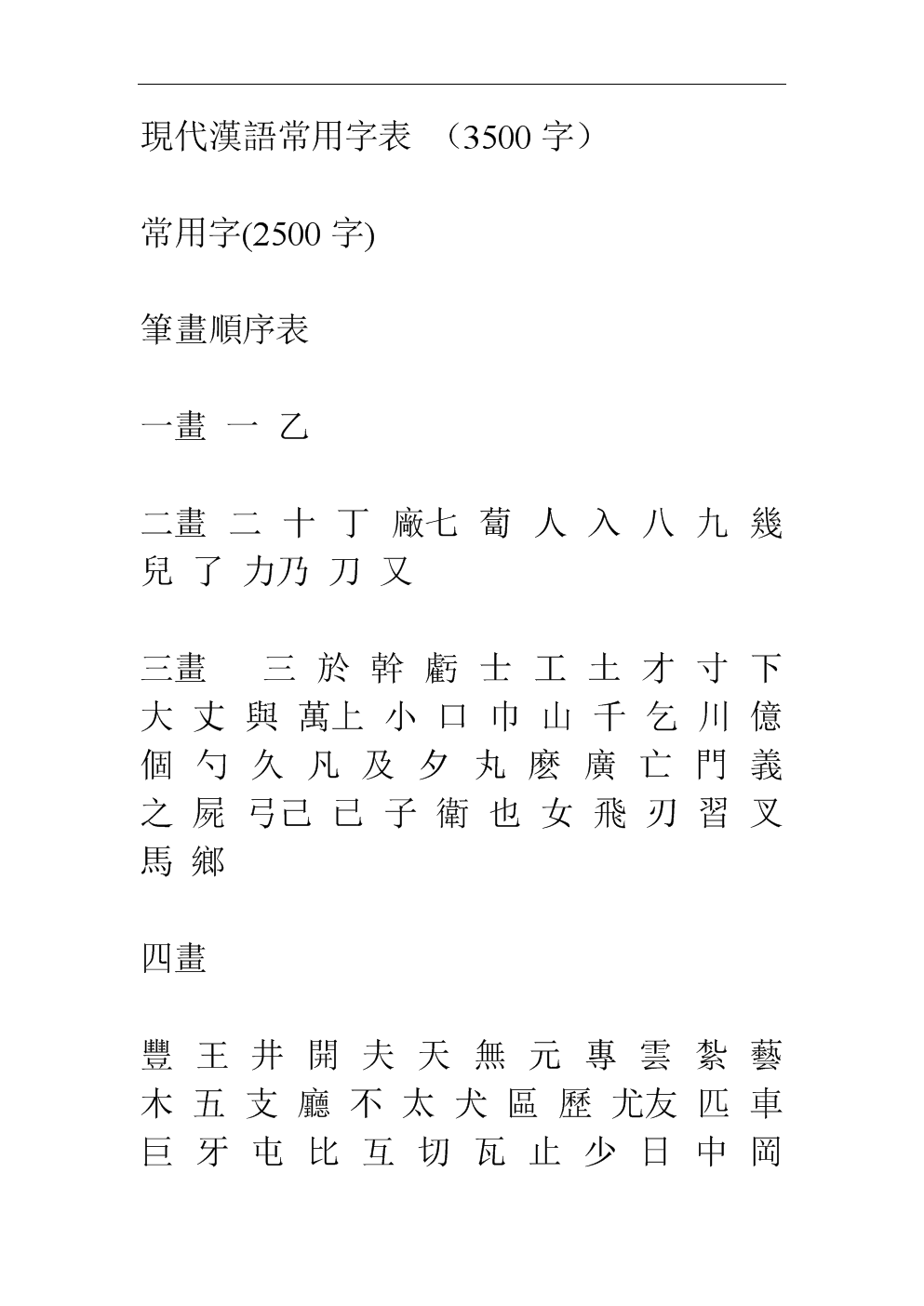 暴草骚妇_3500个常用汉字及繁体字表格.doc