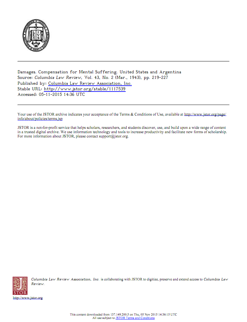 Damages. Compensation for Mental Suffering. United States and Argentina-福利档文献求助平台-微信17610240716.pdf