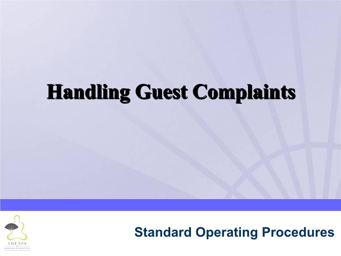 酒店水疗 处理客人投诉 2.13B Handling Guest Complaints Slides.ppt