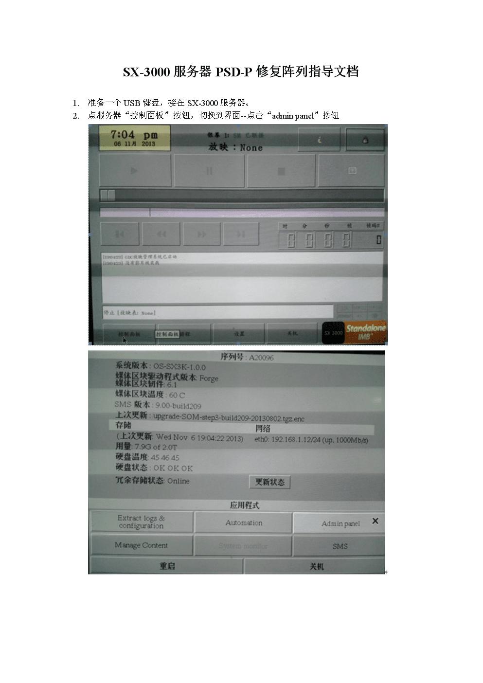 SX-3000服务器PSD-P修复阵列指导文档.doc