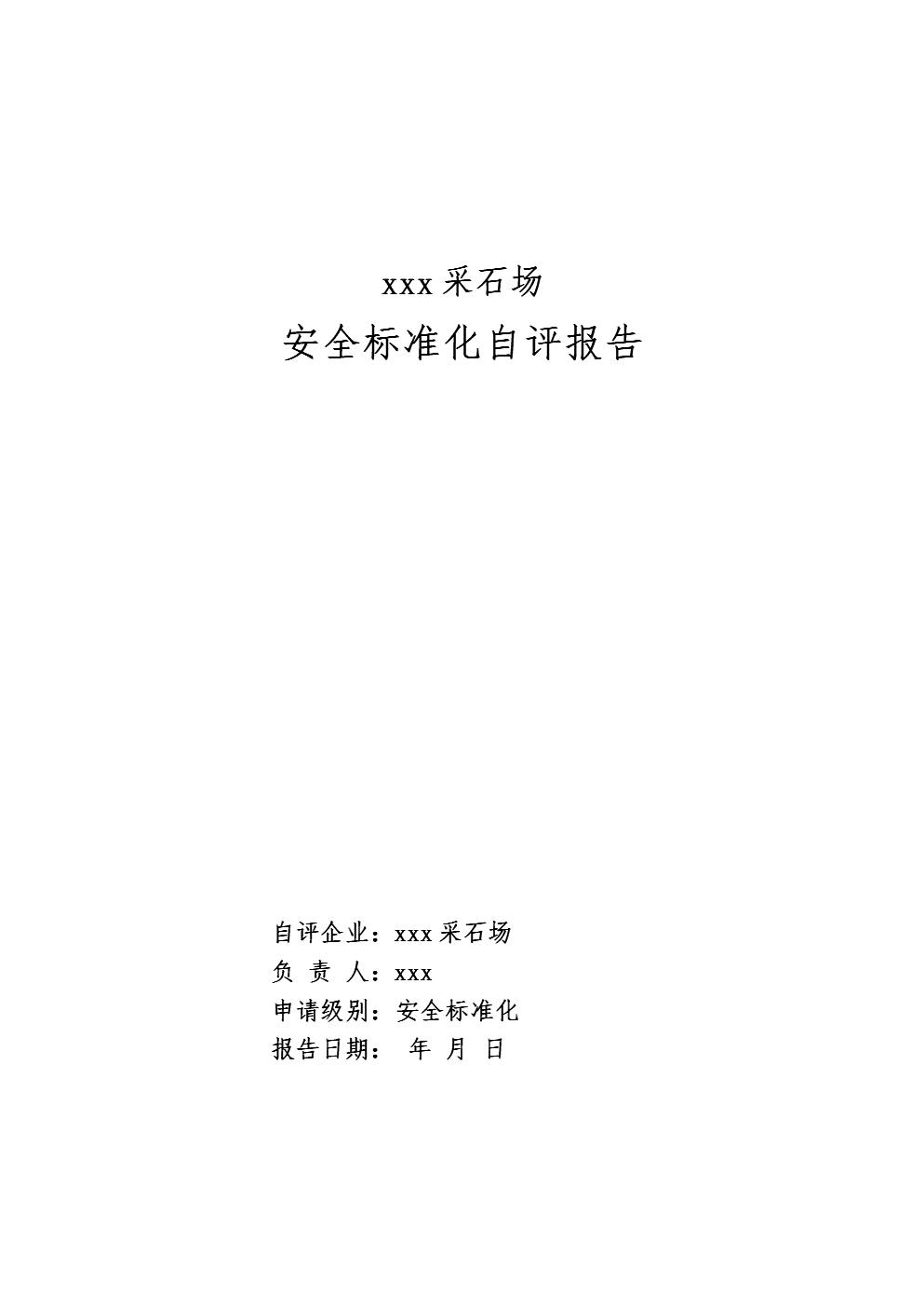 某x非煤矿山安全标准化自评报告.doc