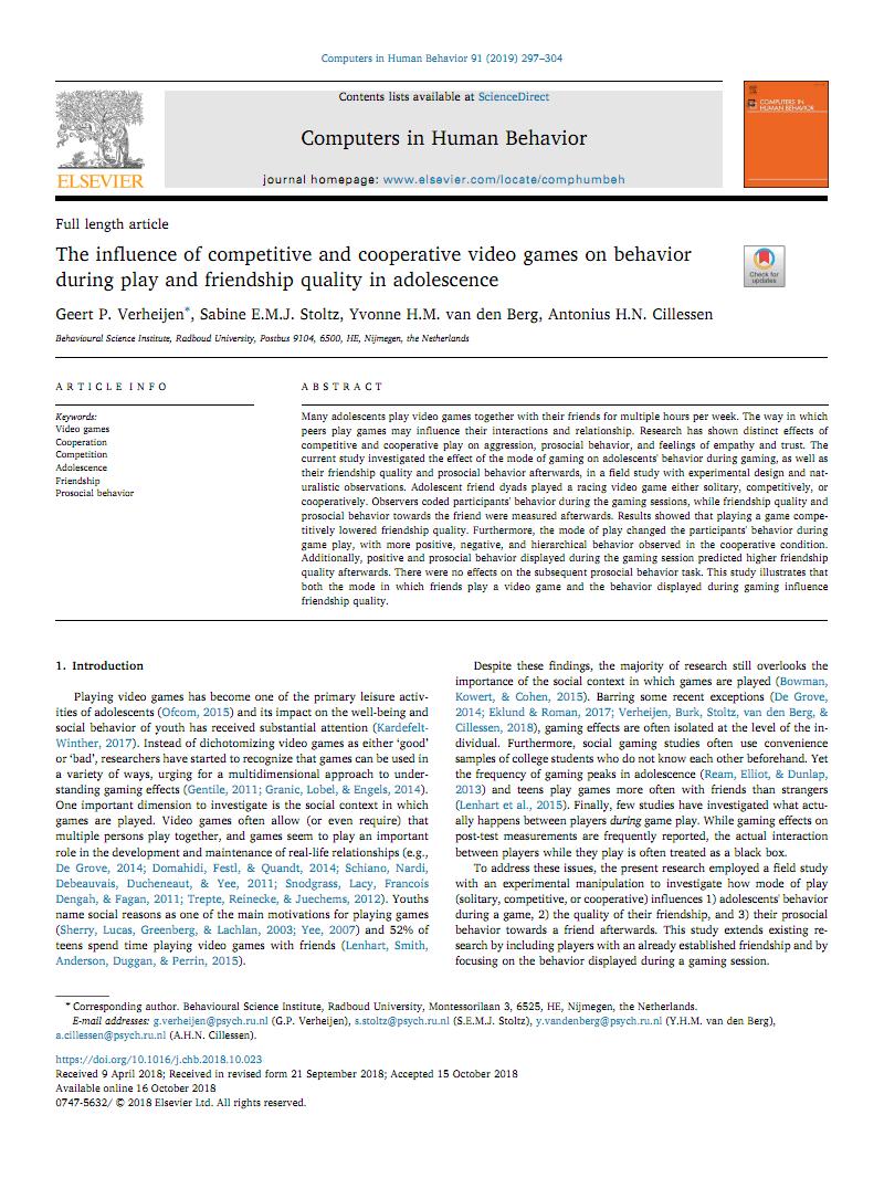 竞技游戏外文文献 The influence of competitive and cooperative video games on behavior during play and friendship quality in adolescence.pdf