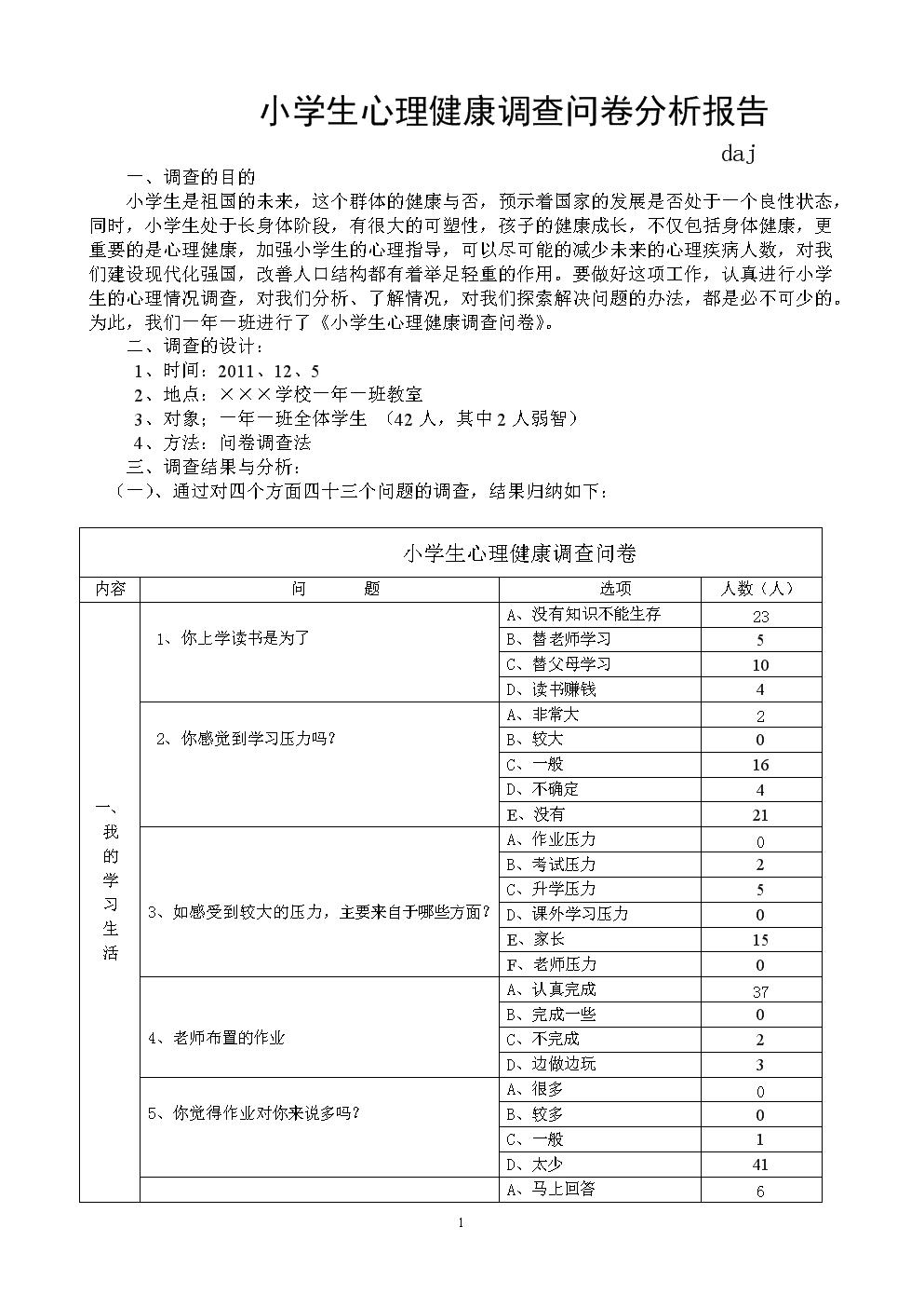 〈小学生心理健康调查问卷分析报告〉.doc图片