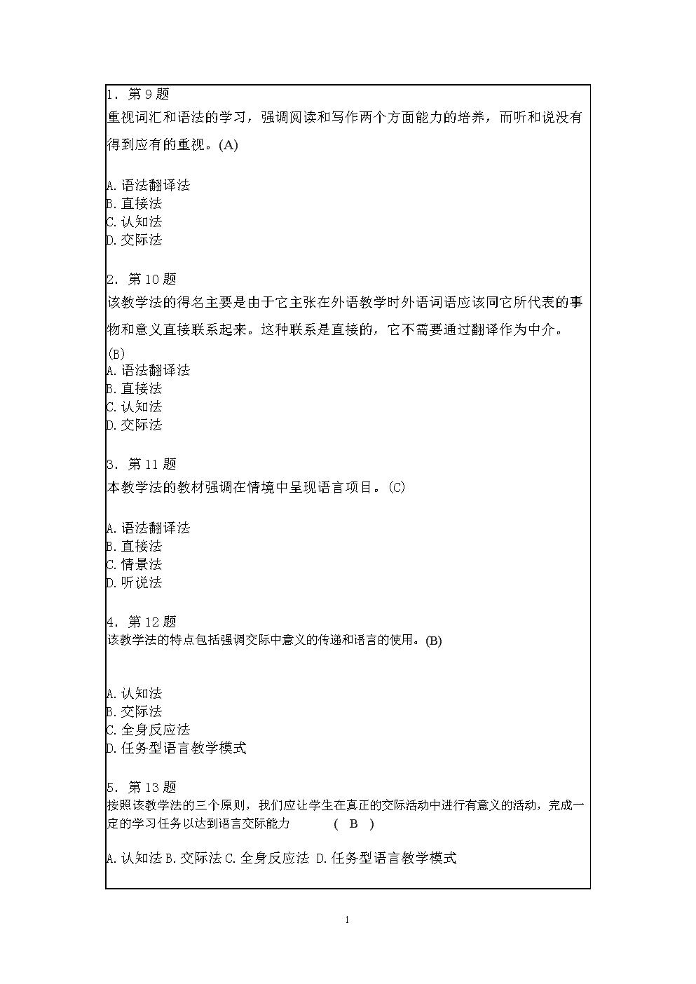 作业英语教学理论MicrosoftWord文档.doc