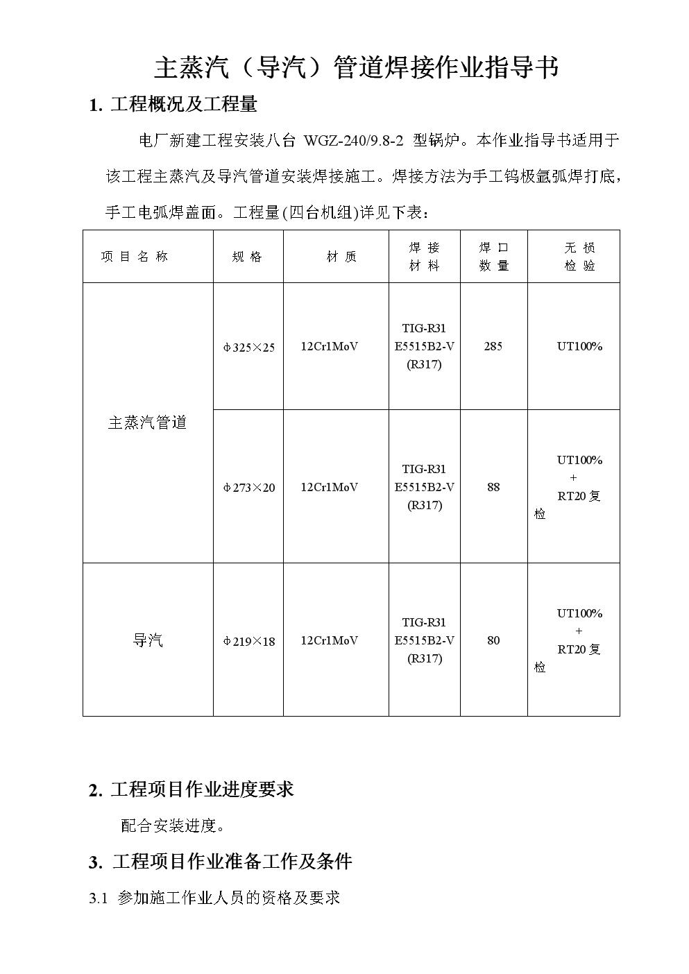 主蒸气作业指导书.doc