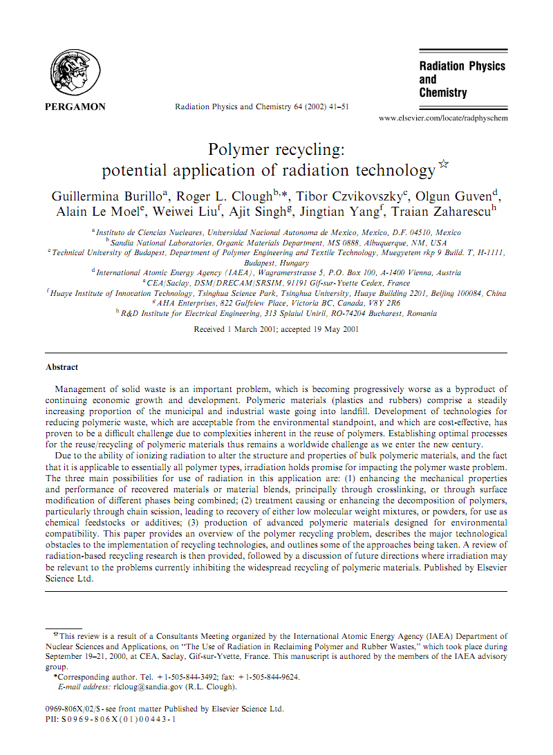 Polymer recycling potential application of radiation technology 2002塑料回收高效利用新技术.pdf