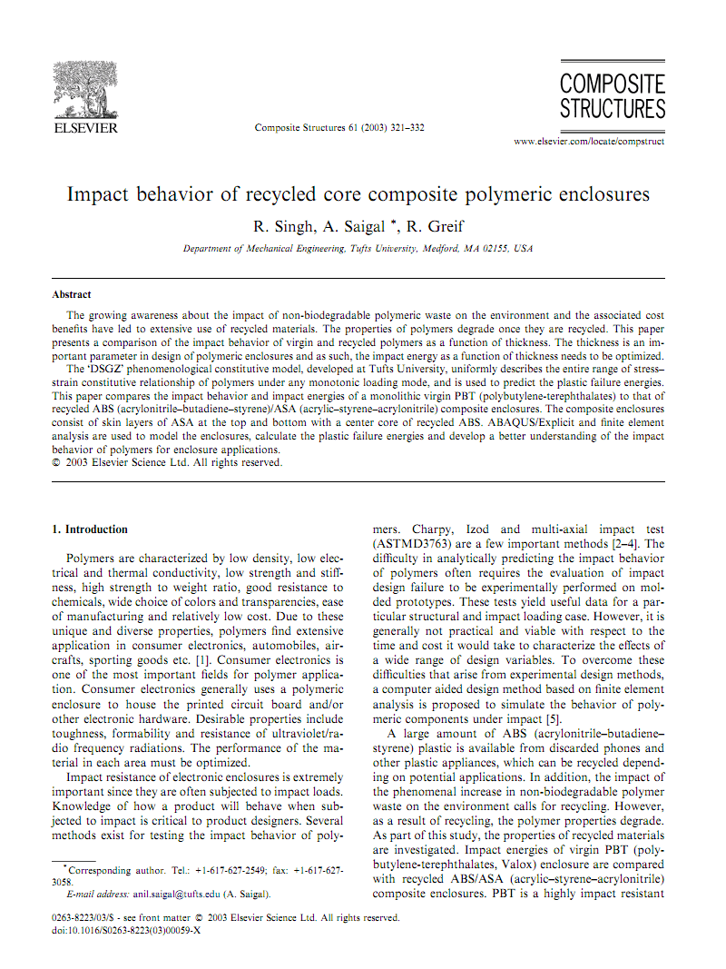 Impact behavior of recycled core composite polymeric 塑料回收高效利用新技术enclosures.pdf