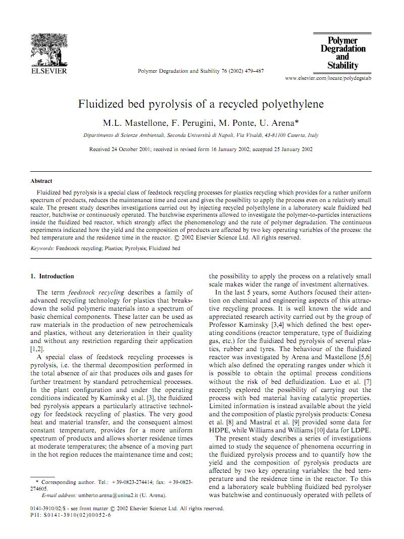 Fluidized bed pyrolysis of a recycled polyethylene塑料回收高效利用新技术.pdf