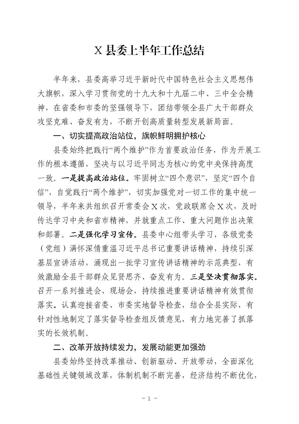 2019年上半年XX县委工作总结.docx