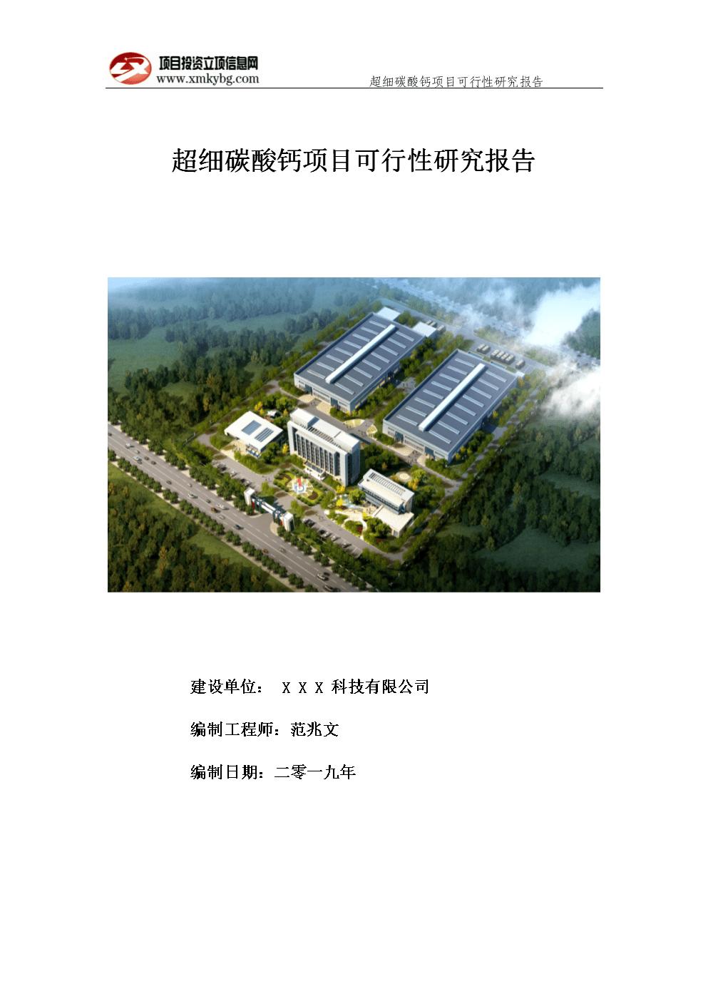 超细碳酸钙项目可行性研究报告-用于备案立项.doc