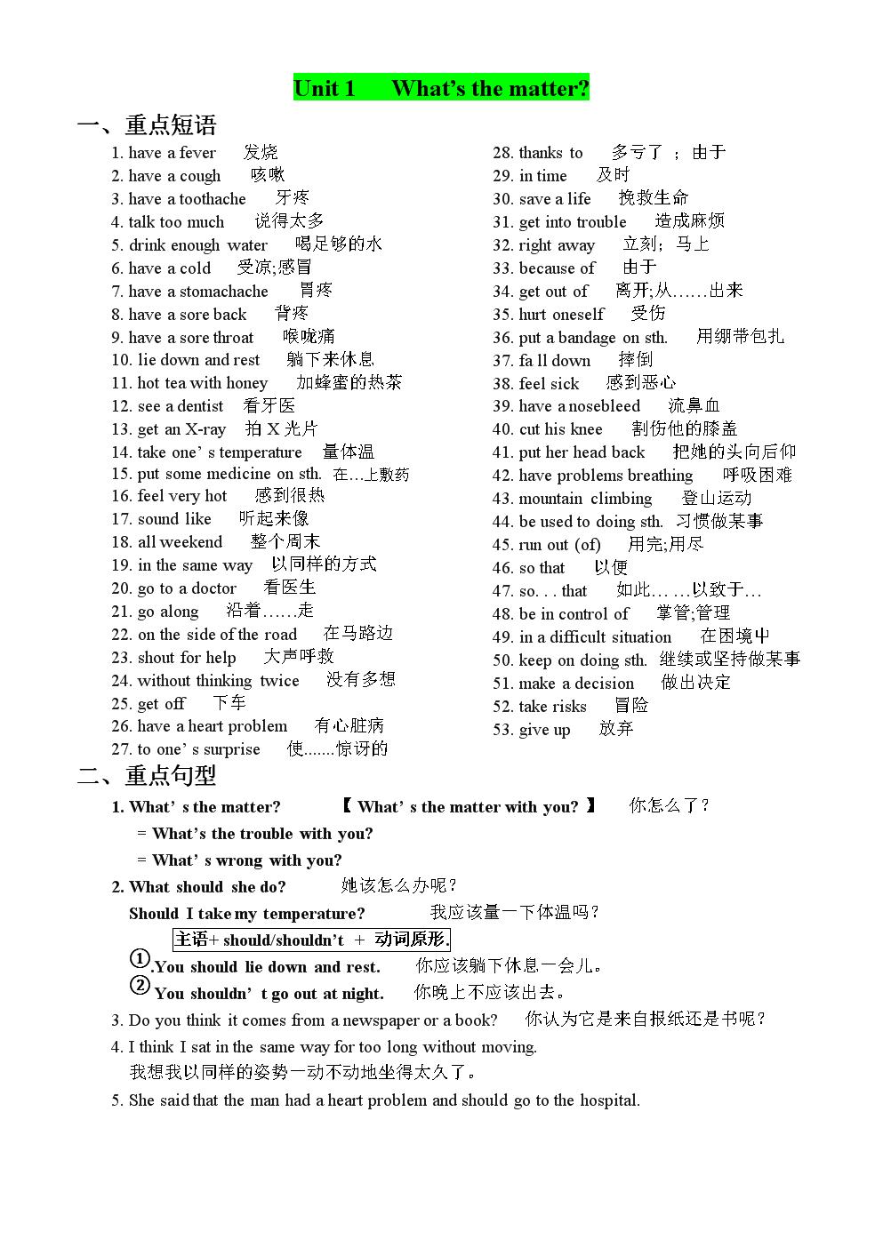 最新版本新目标英语八年级下册Unit_1-unit5期中复习重点短语和句子.doc