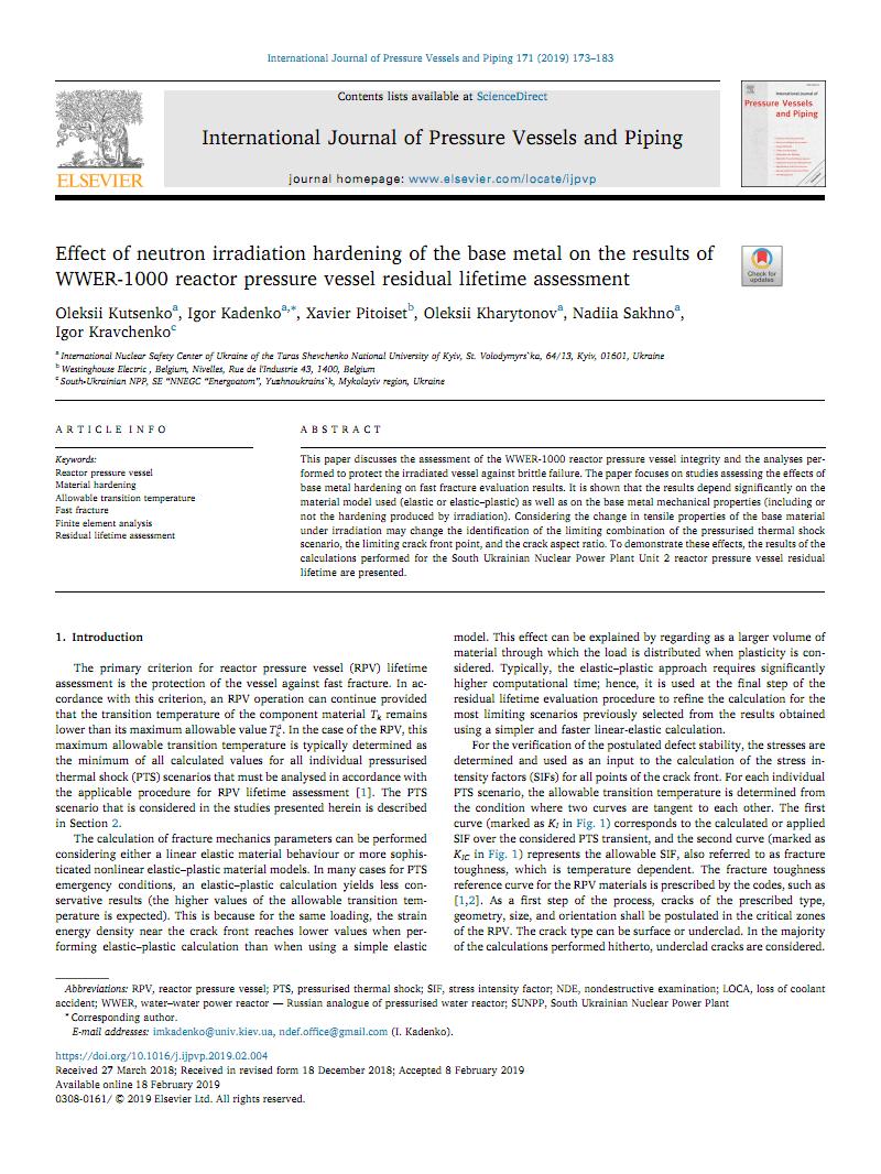 Effect of neutron irradiation hardening of the base metal on the results of WWER-1000 reactor pressure vessel residual lifetime assessment中子辐照硬化金属对WWER-1000反应堆压力容器剩余寿命评估结果的影响.pdf