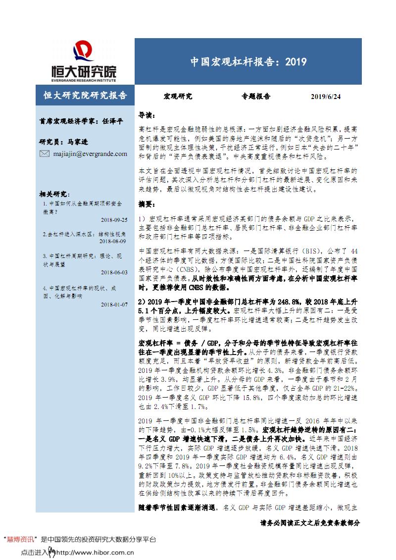 中国2019宏观杠杆深度调研和分析报告.pdf