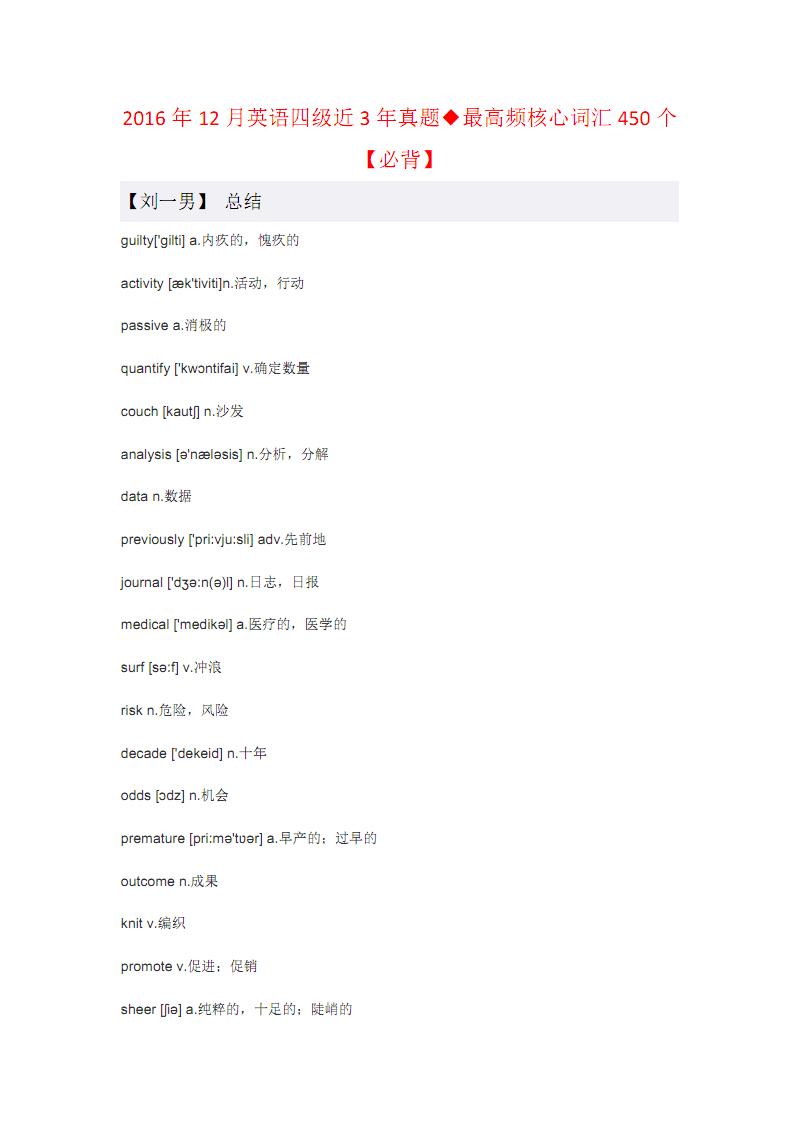 2016年12月英语四级近3年真题◆最高频核心词汇450个【必背】.pdf