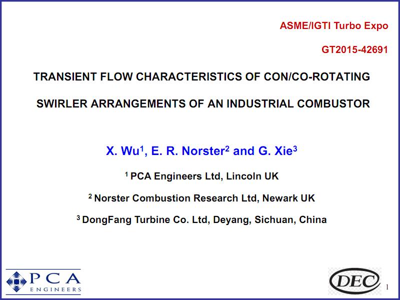 工业燃机燃烧室同向旋转旋流器的瞬态流动特性.pdf
