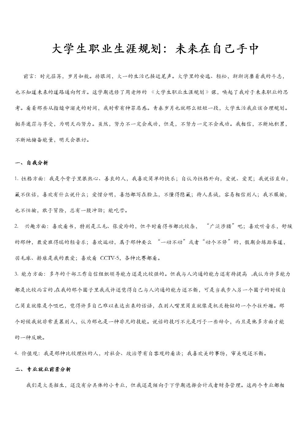 职业生涯规划(大学生、高级精英).doc
