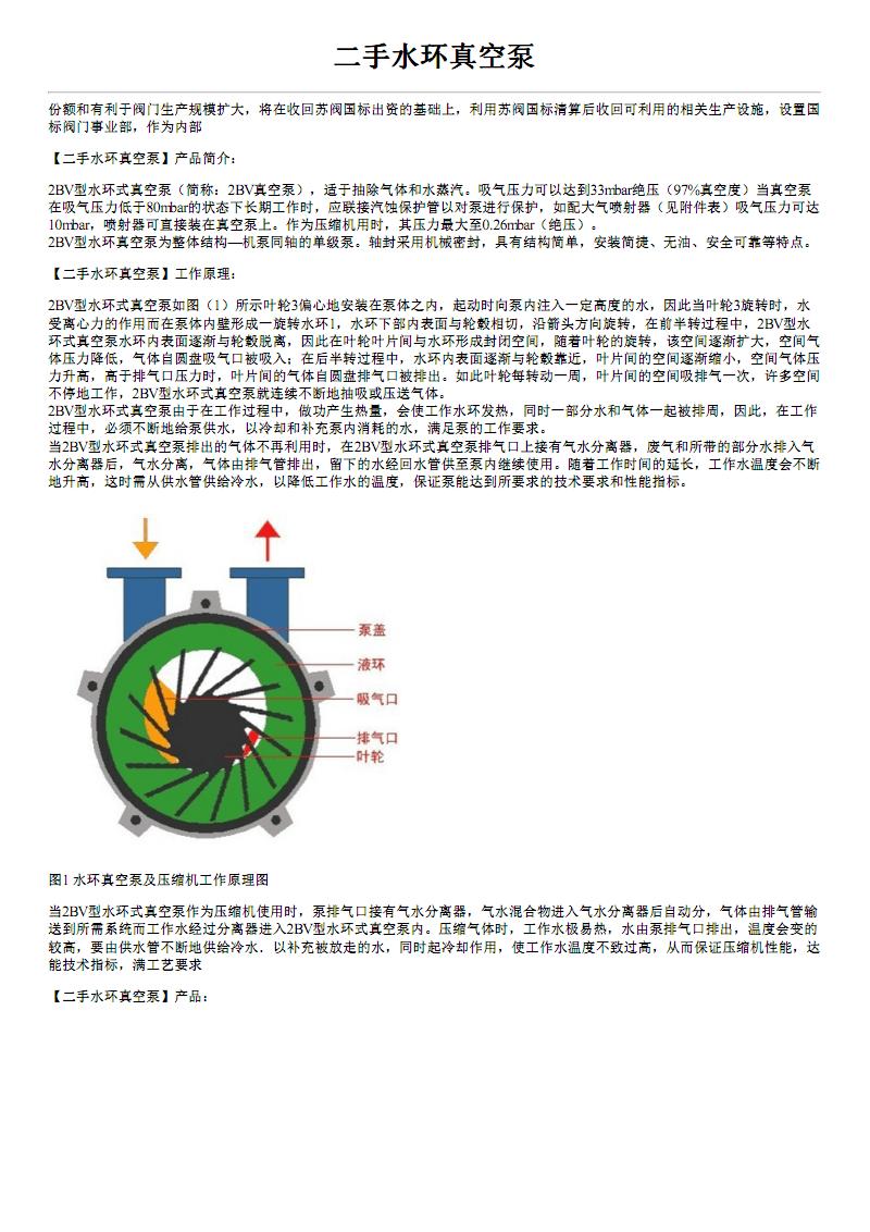 二手水环真空泵型号参数价格及结构图.pdf