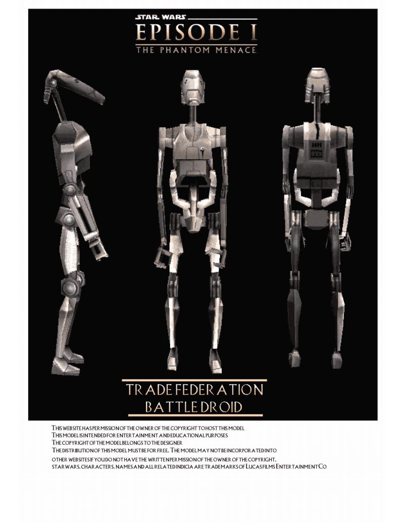 机体装备道具纸模未整理星球大战之贸易联盟机器人纸模型图纸Battle Droid.pdf