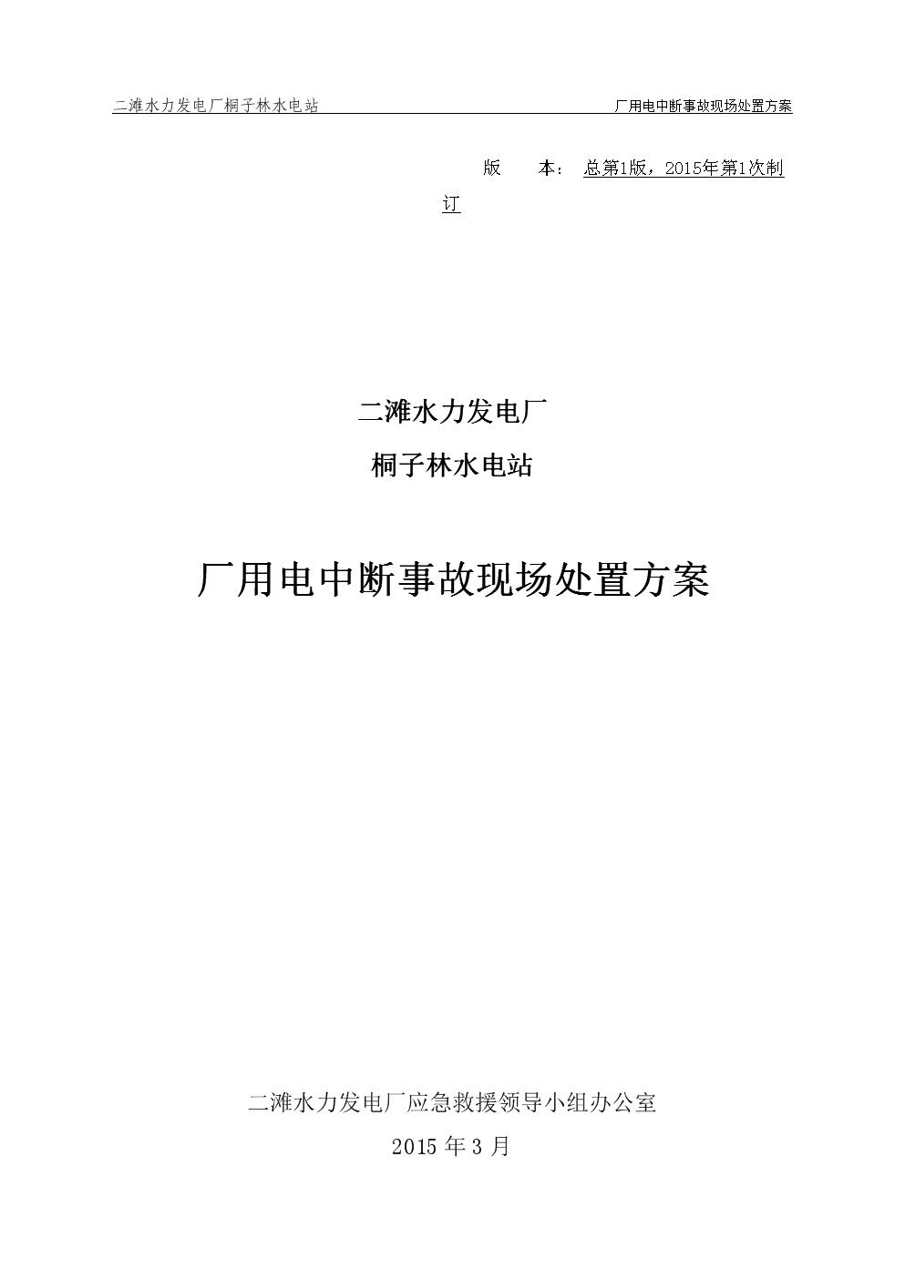 06-桐子林水电站厂用电中断事故现场处置方案.docx