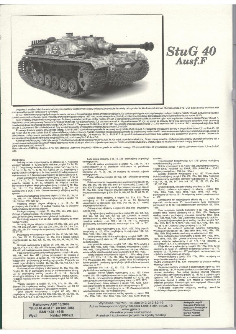 纸模模型图纸二战装甲车辆GPM 286 - STUG 40 Ostketten.pdf