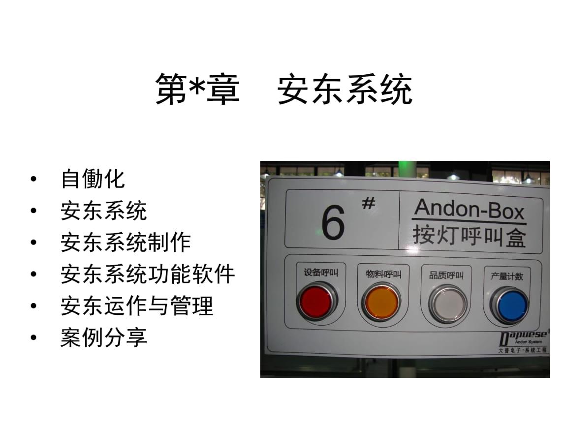 精益系统课程-----21-安东系统-教材(ANDON系统).ppt