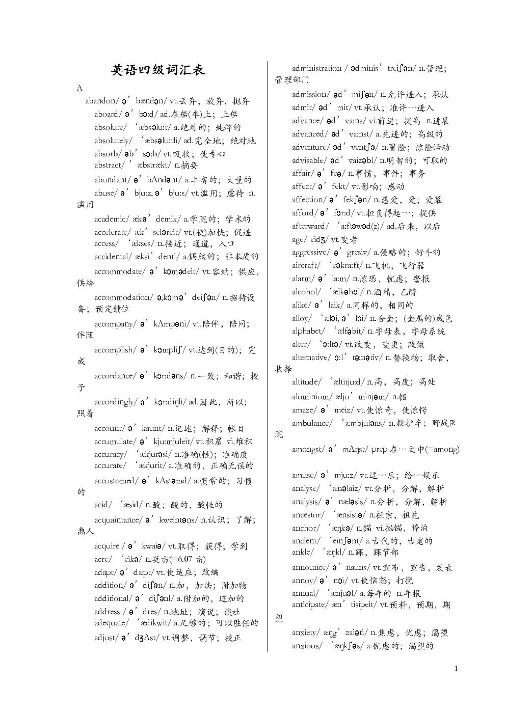 英语四级的词汇表【带音标】.doc