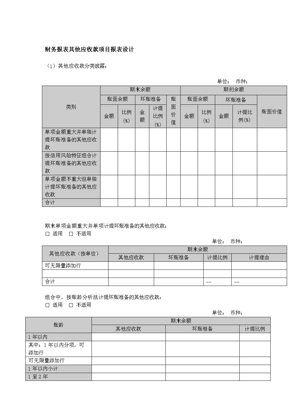 财务报表其他应收款项目报表设计.doc
