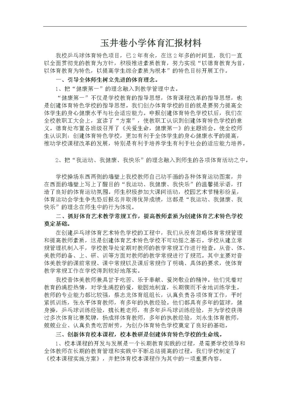 玉井巷小学体育汇报材料.doc