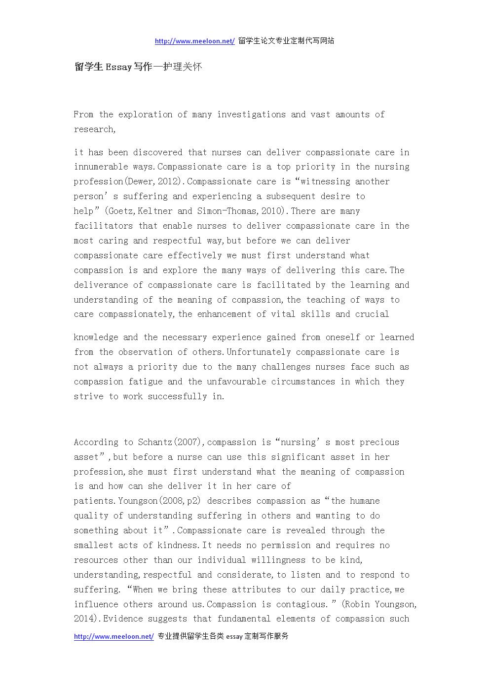 留学生Essay写作—护理关怀.docx