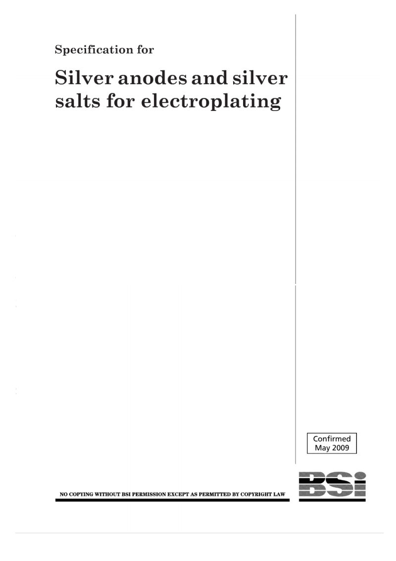 英国标准 国家标准  转化BS 1561-1966 Specification for silver anodes and silver salts for electroplating.pdf