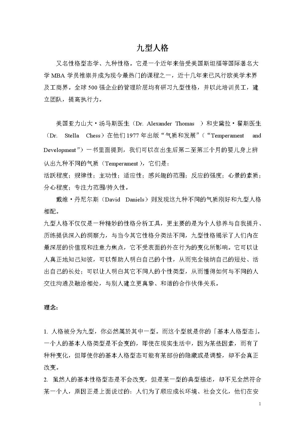 九型人格测试及适合职业( 两套题 ).doc