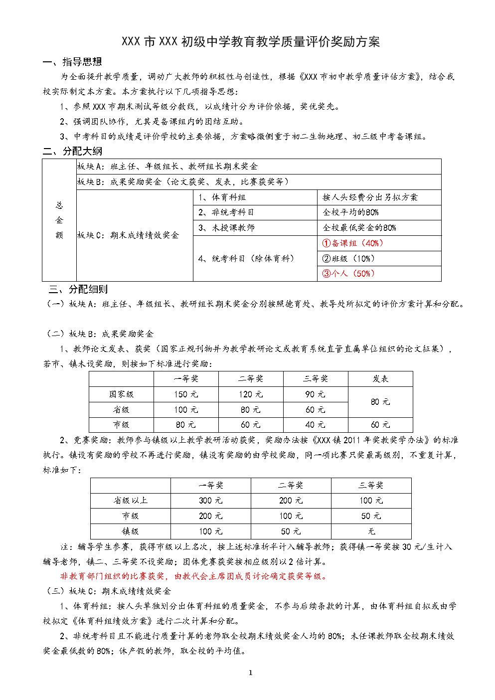 中小学教师教育教学质量评价奖励方案(期末绩效奖金分配方案).doc