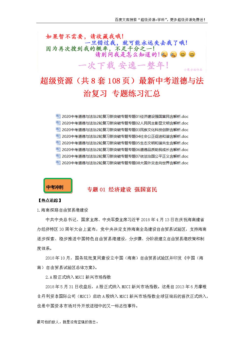 最新中考道德與法治復習 專題練習匯總(全冊打包下載).doc