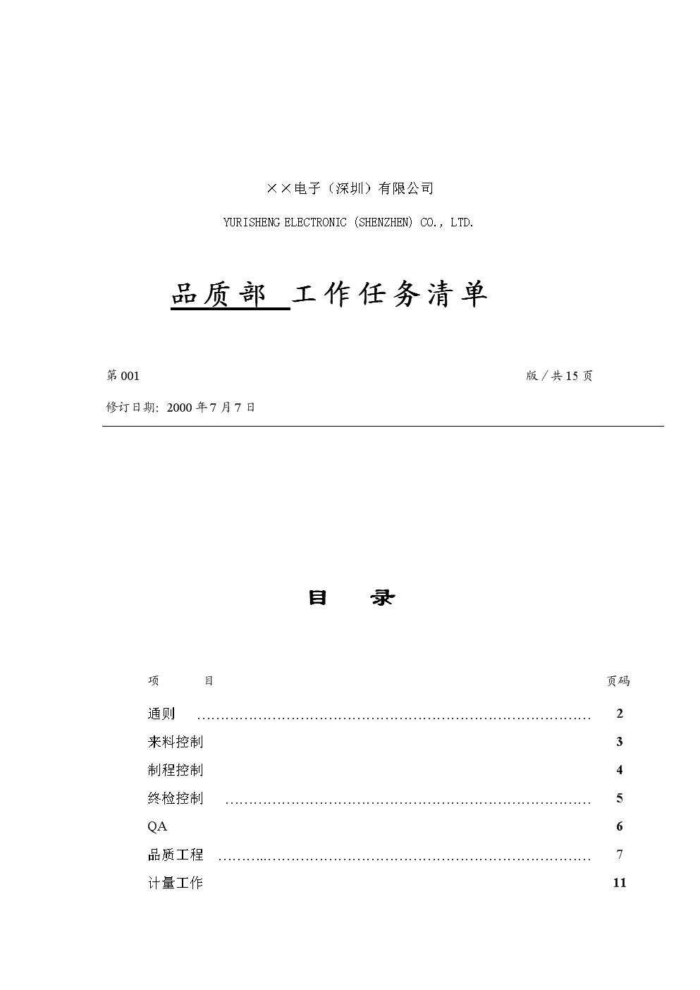 職務設計及分析報告-品質部工作清單.doc
