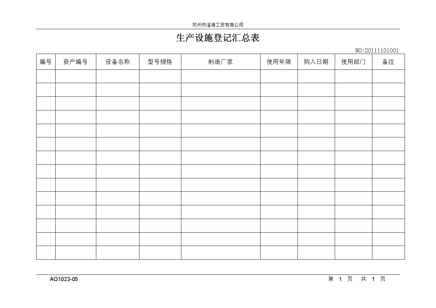 XX工贸有限公司生产设施一览表.doc
