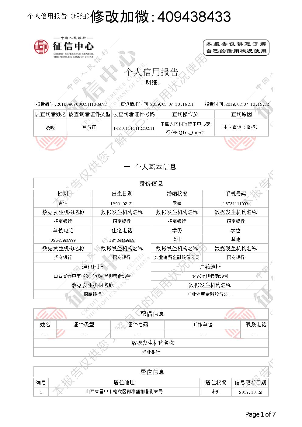 最新征信报告详版word模板带水印下载后高清2.docx