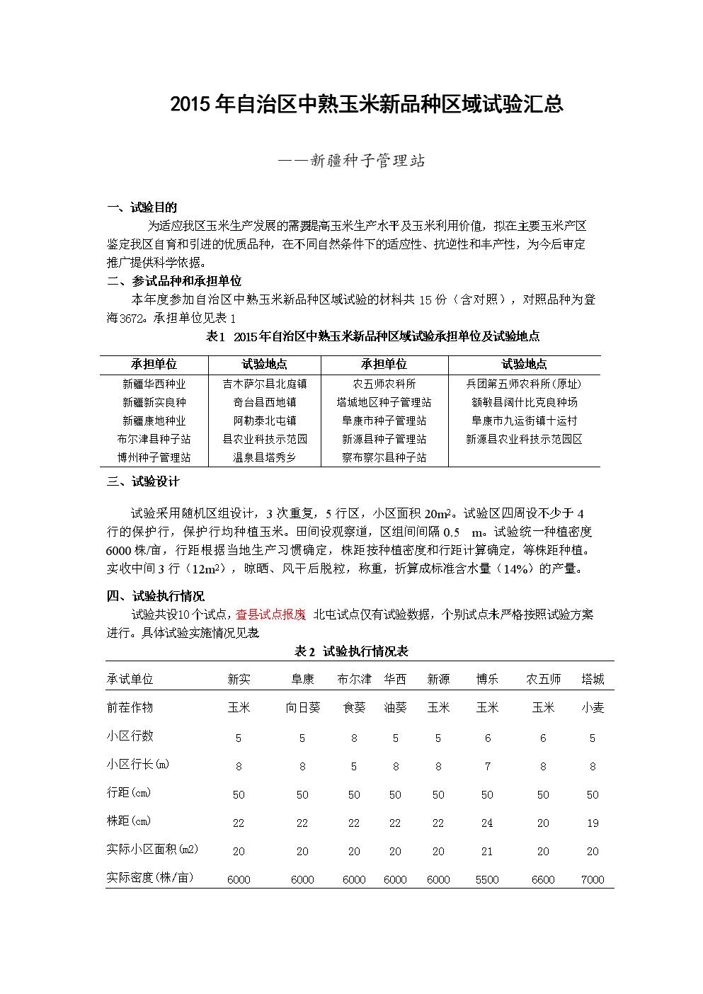 2015年自治区中熟玉米新品种区域试验汇总.doc
