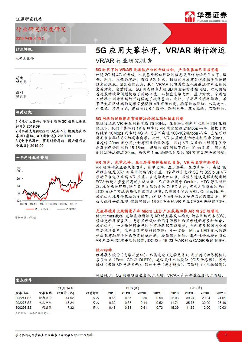 VR、AR行业研究报告:5G应用大幕拉开,VR、AR渐行渐近.pdf