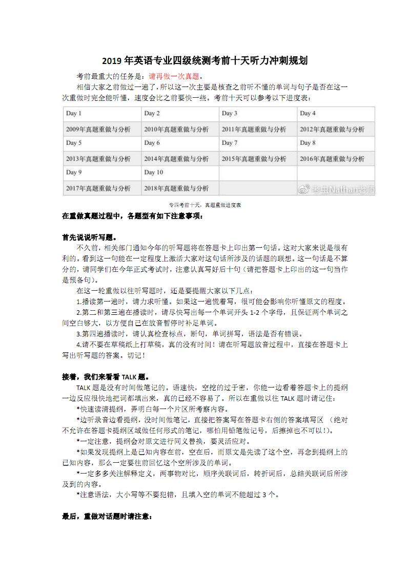 2019年英语专业四级统测考前十天听力冲刺规划.pdf