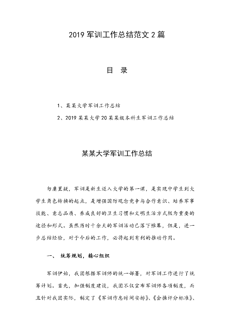2019军训工作总结范文2篇.docx