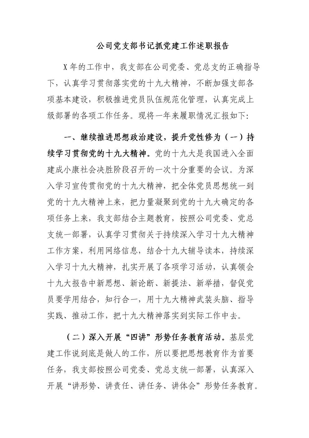 公司党支部书记抓党建工作述职报告.docx