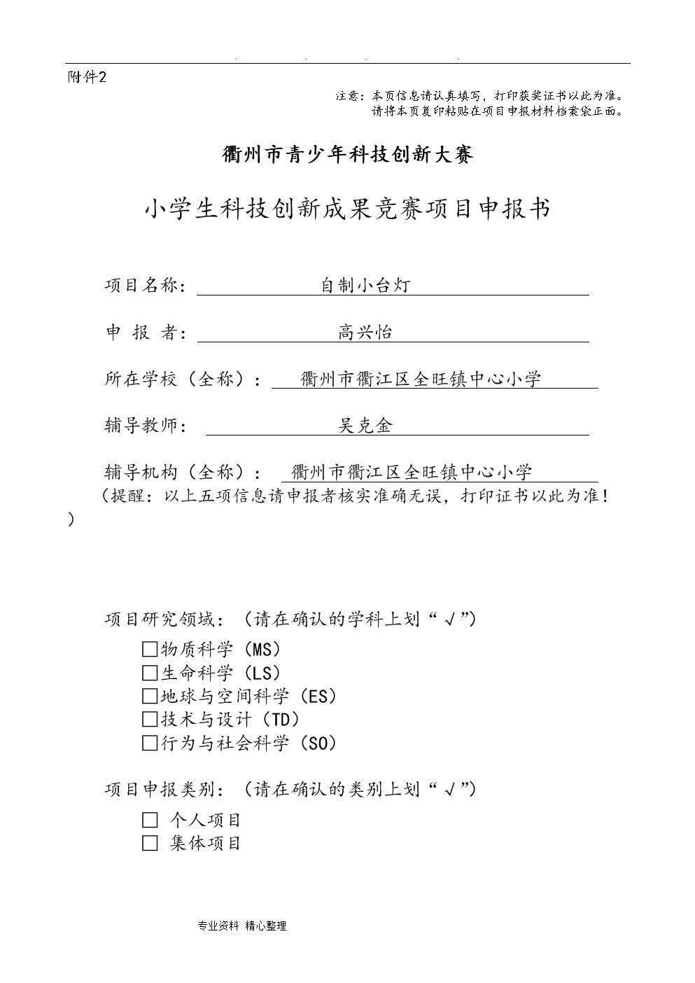 自制小台灯申报书范本.doc