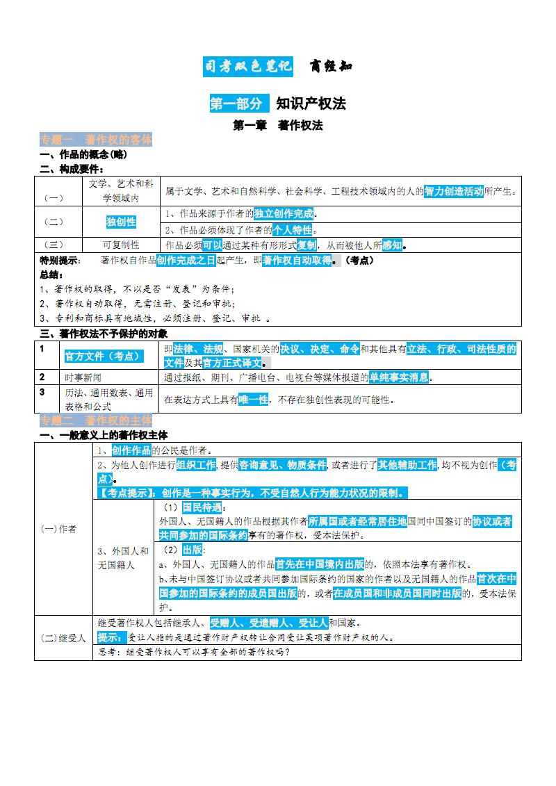 司法考试双色笔记-商经知-第一部分.pdf