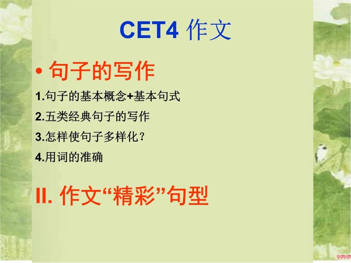 """CET4-writing3句子的写作+""""精彩""""句型.ppt"""