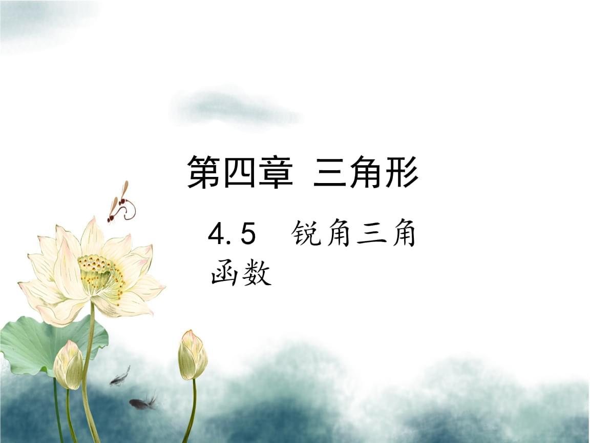2019届中考数学复习第四章三角形4.5锐角三角函数课件.ppt