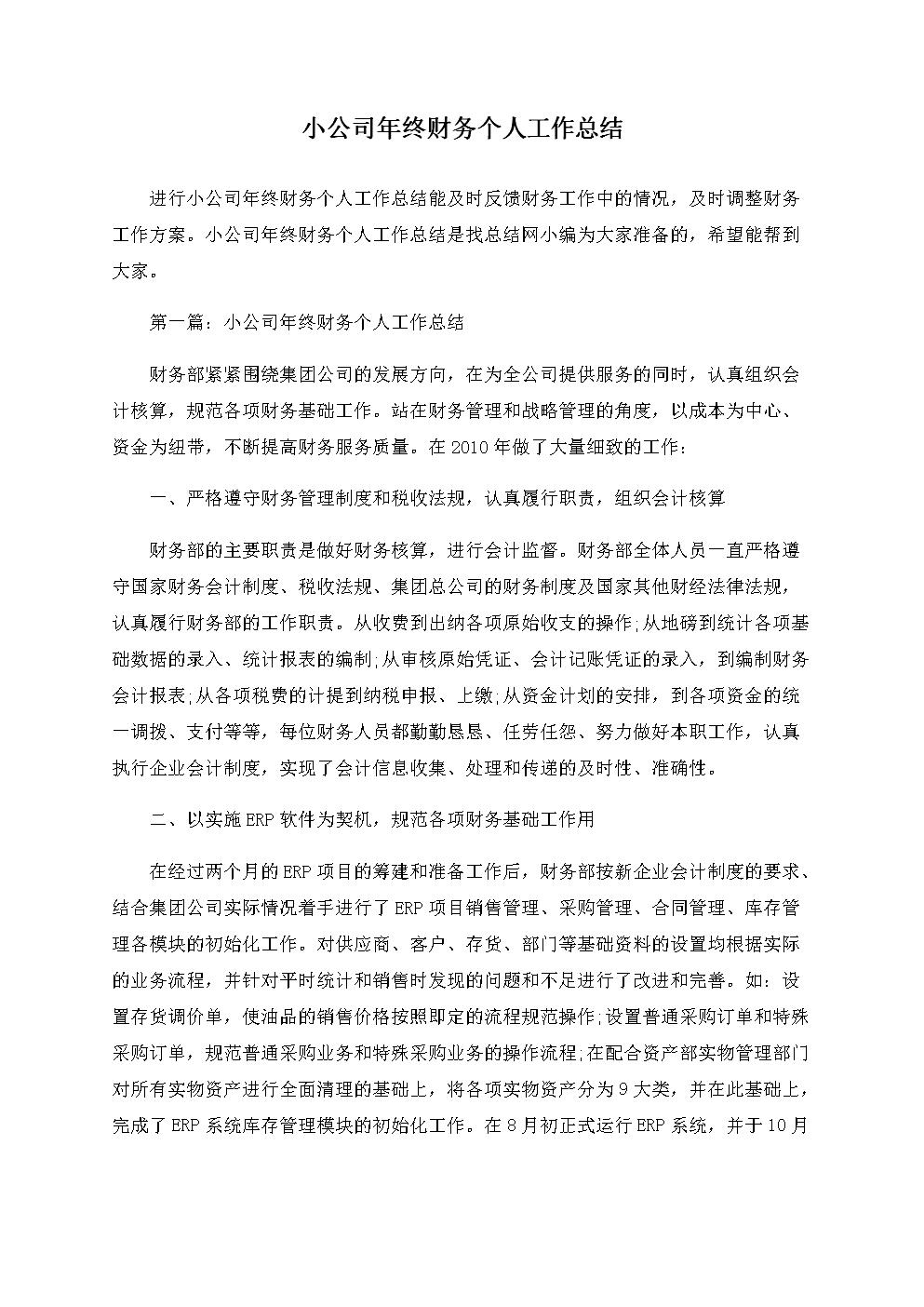 小公司年终财务个人工作年度总结.docx
