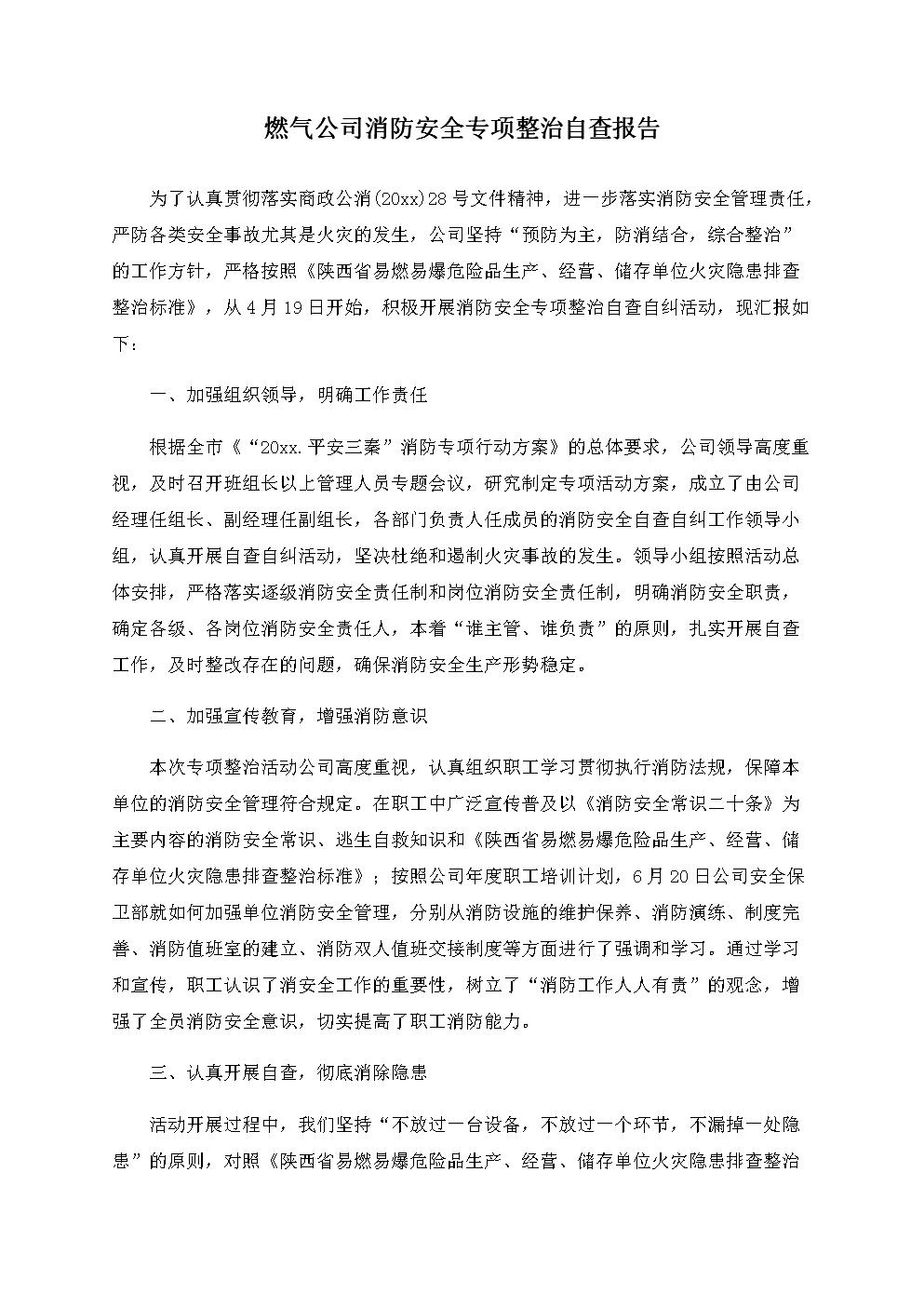 燃气公司消防安全专项整治自查报告.docx
