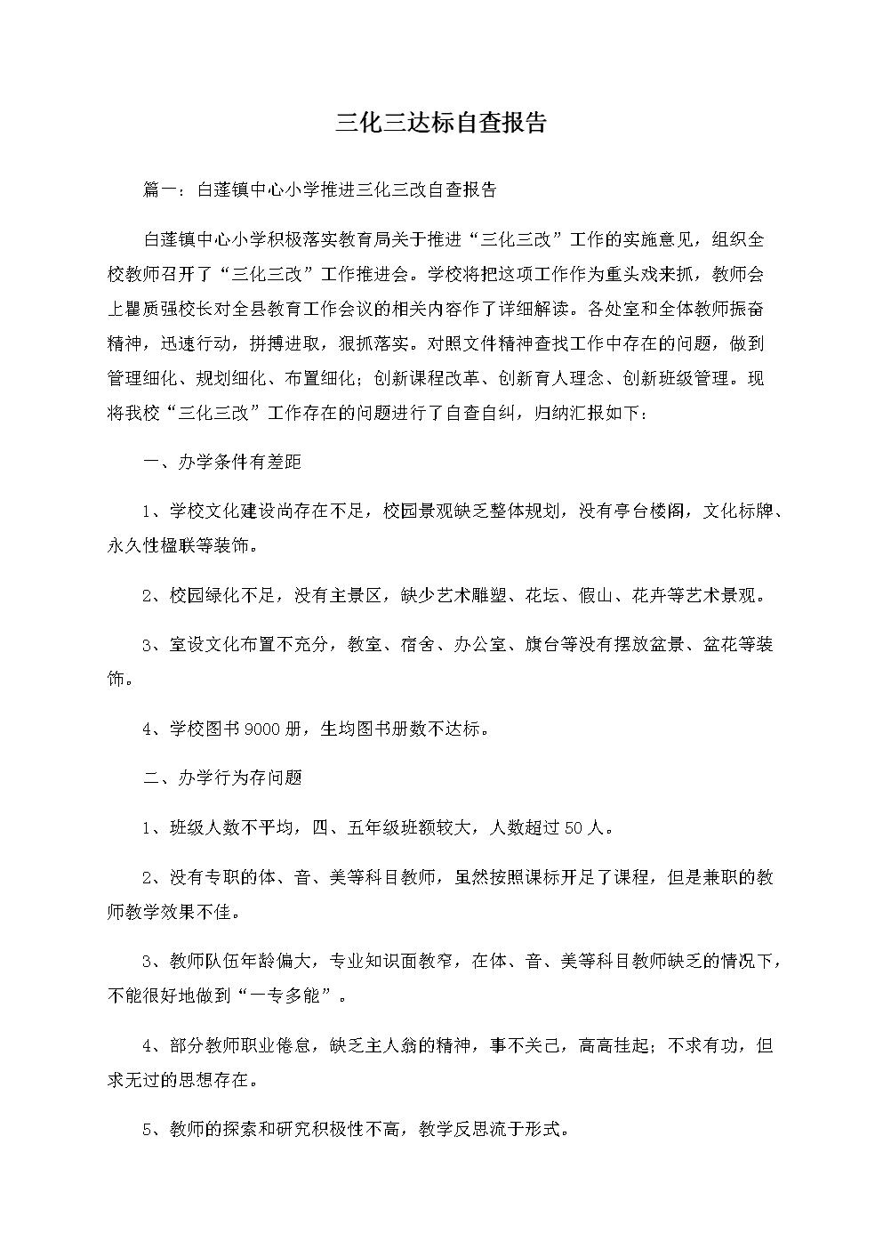 三化三达标自查报告.docx