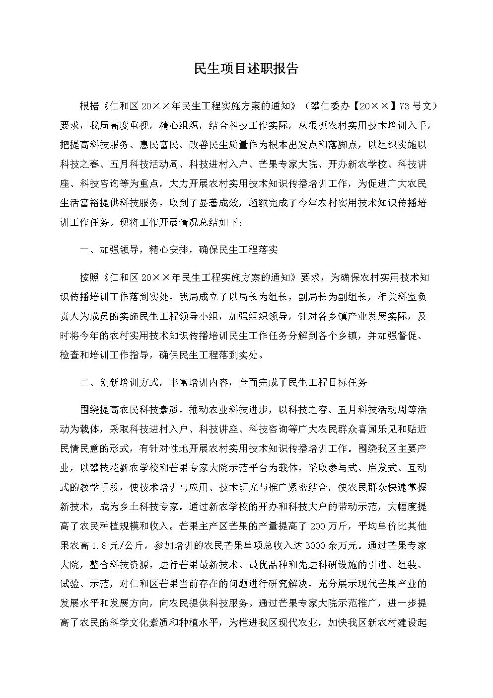 民生项目述职报告.docx